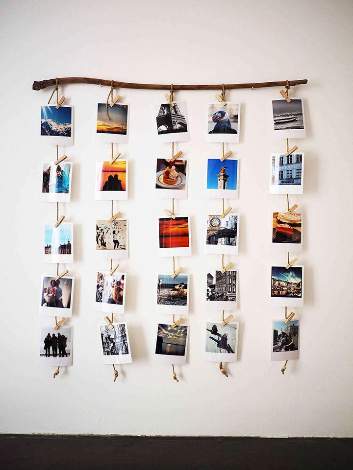 Decorar paredes con fotos y cuerda