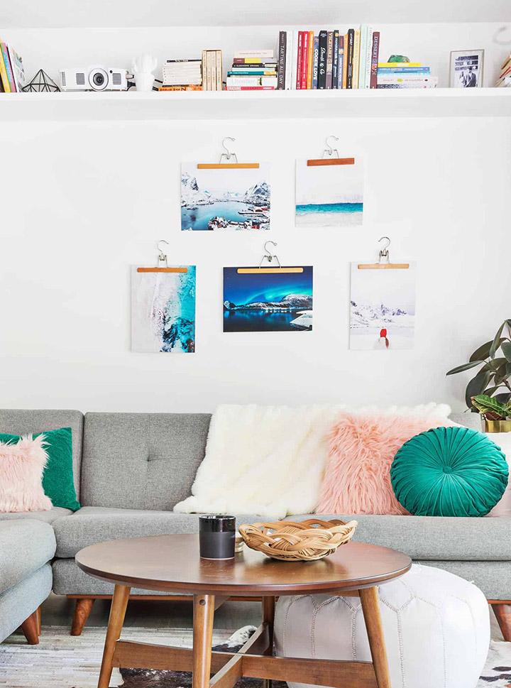Decorar paredes con fotos sin marco