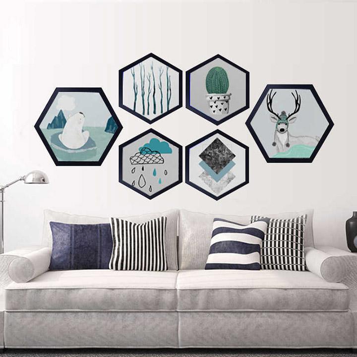 Decorar paredes con marcos hexagonales