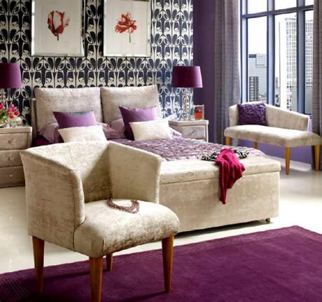 color lila en decoracion habitaciones