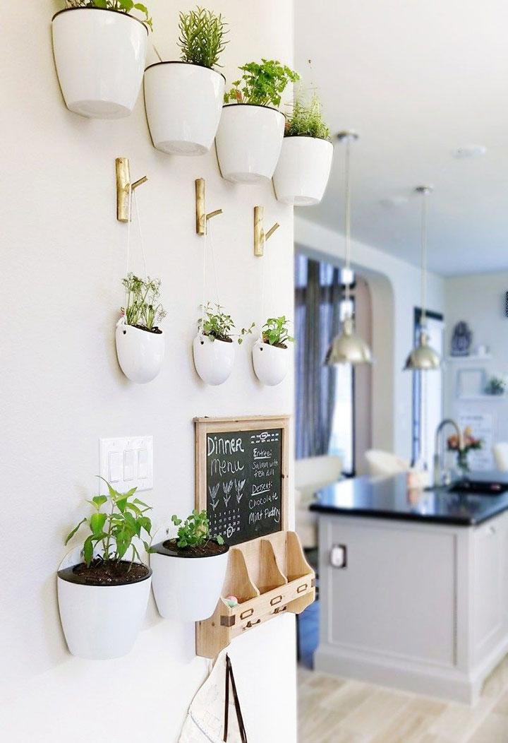 Colocar plantas artificiales en la cocina