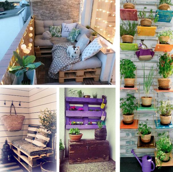 Decorar balcón con palets de madera ideas