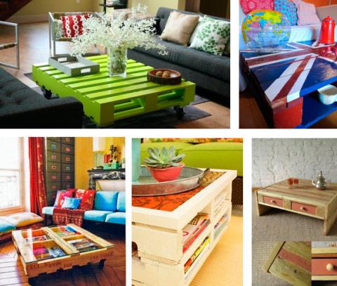 Mesas con palets de madera
