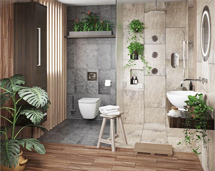 Decorar con plantas artificiales el cuarto de baño