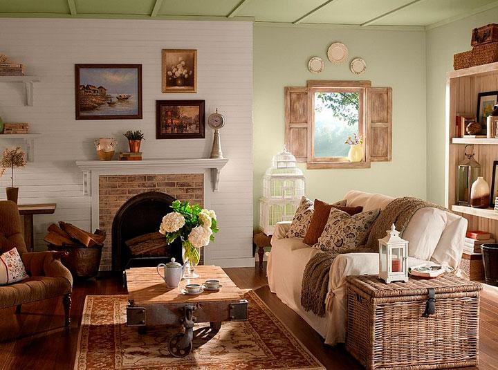 Salones con encanto rústicos y chimenea de leña
