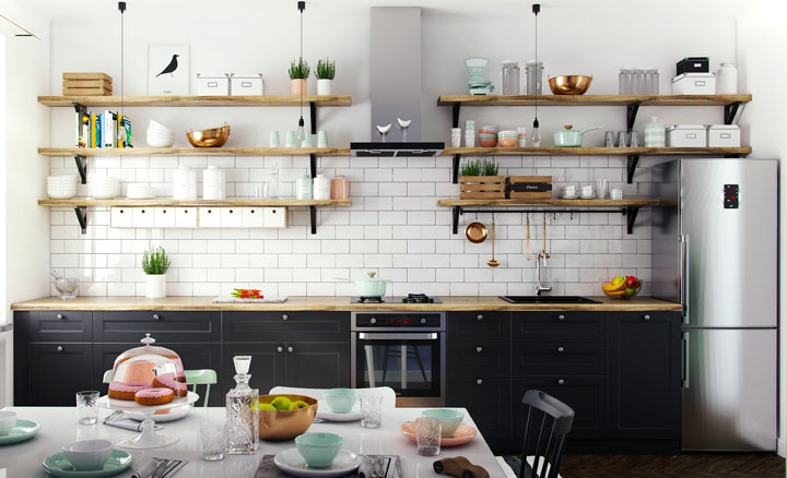 30 ideas de estanterías abiertas en la cocina