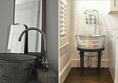 Utilizar cubos como picas de lavabo vintage - Decorar Hogar