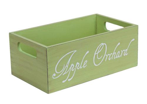 Caja de madera de fruta color verde