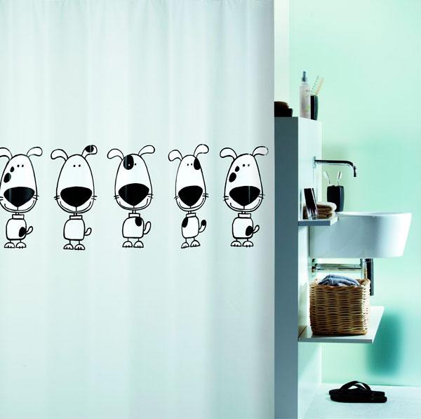 Cortina de ducha perritos de dibujo