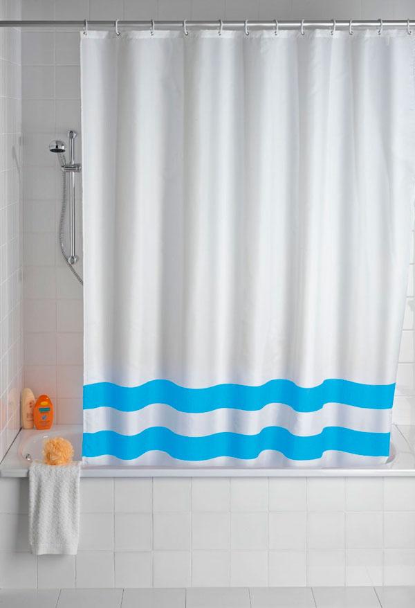 Cortina de ducha a rayas horizontales azules