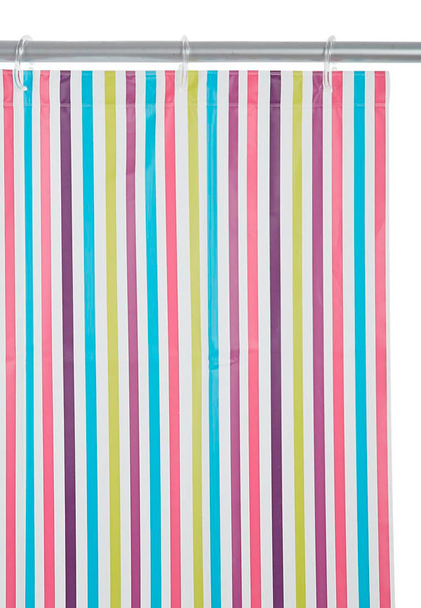 Cortina de ducha a rayas verticales de colores