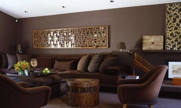 Pintar las paredes de color marr n chocolate decorar hogar - Paredes grises y muebles marrones ...