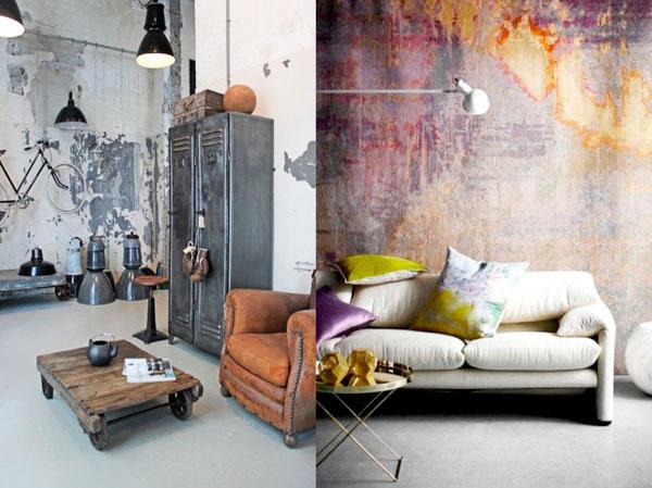 Decoración de estilo industrial piezas deterioradas y gastadas