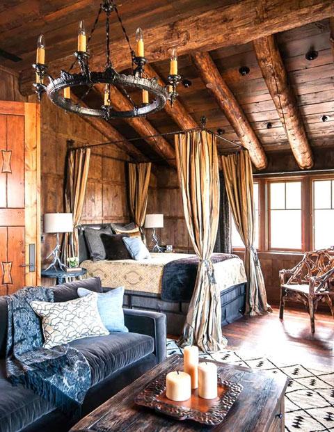 Dormitorio rústico romántico