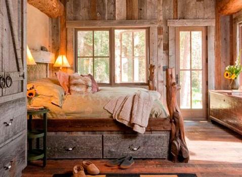 Dormitorio rustico vintage de madera