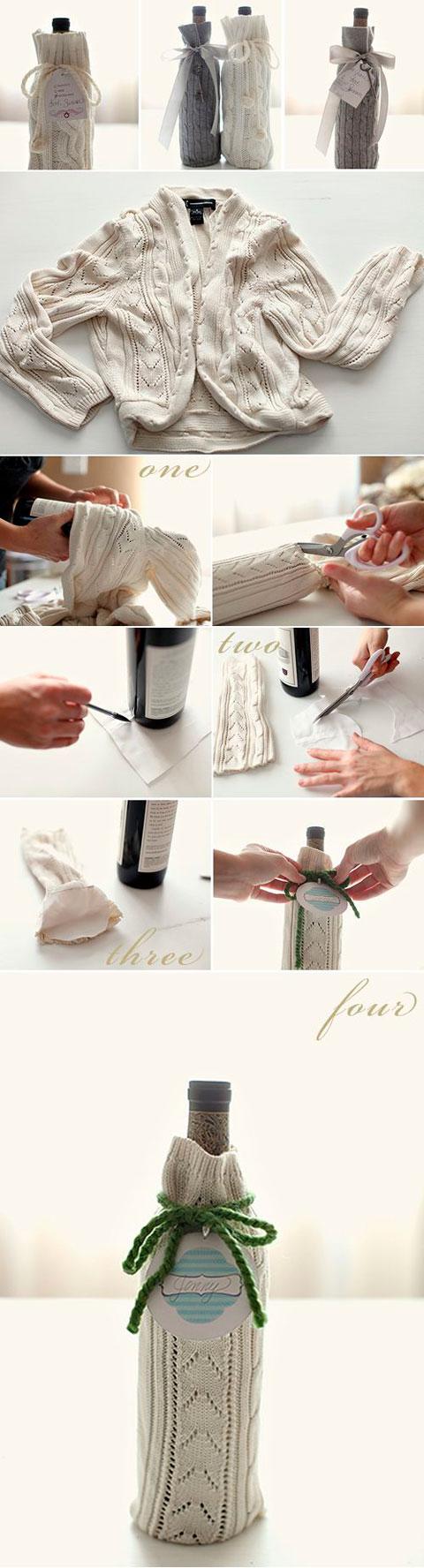 Envolver una botella para regalo con un jersey de lana
