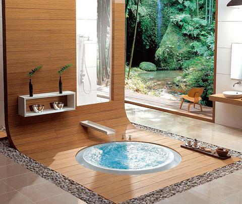 Bañera integrada en el suelo