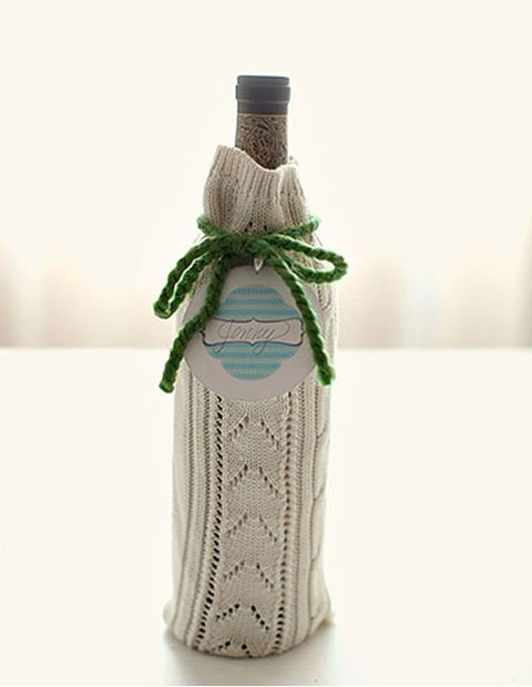 Cómo hacer un cubre botellas con un jersey de lana viejo