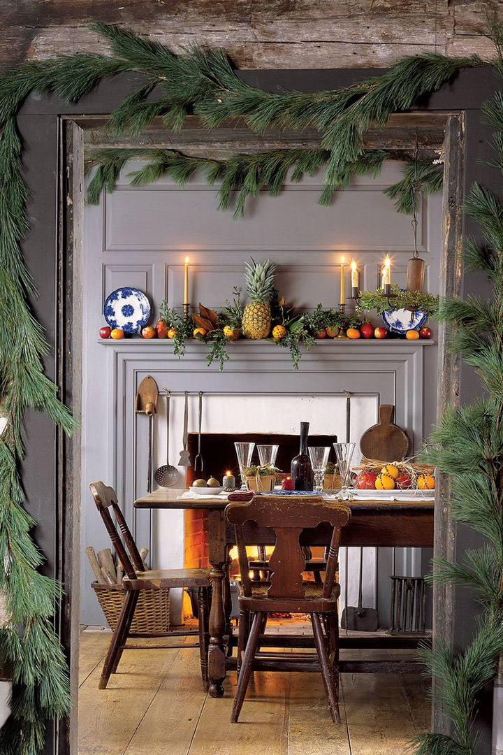 Decoración navideña del comedor