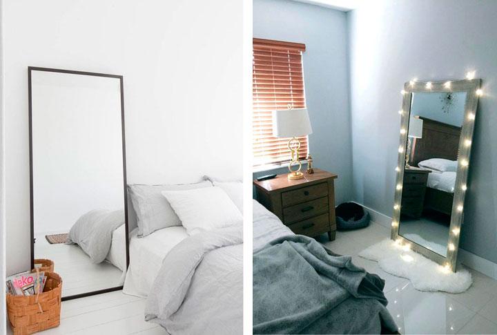Pon espejos en una habitación pequeña para que parezca más grande