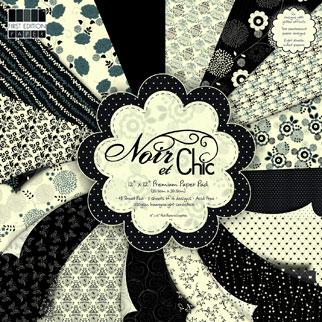 Pack de papel para Scrapbooking Noir et Chic