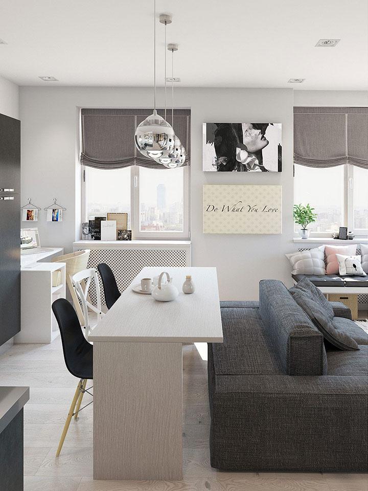 Decorar piso pequeño con cocina abierta al comedor