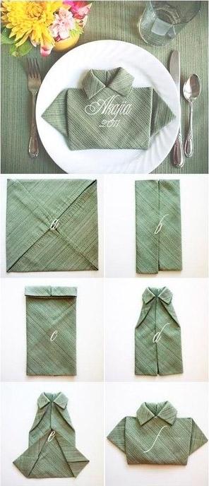 Doblar Servilleta de tela con forma de camisa