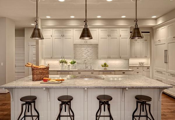 Cocina moderna con lámparas retro