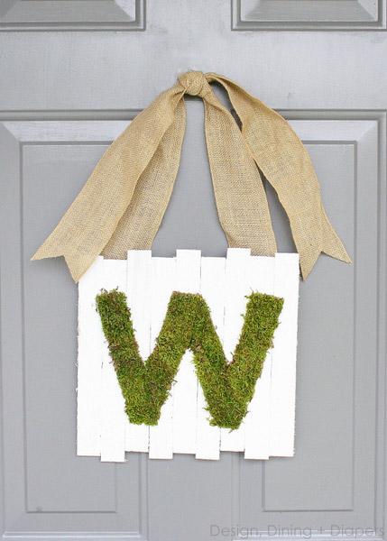 Letra decorada con musgo
