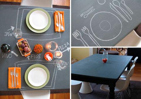 Mesa pintada con pintura de pizarra