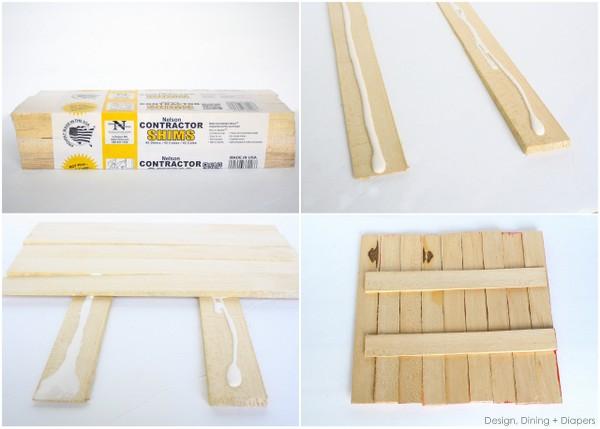 Pegar los listones de madera con cola