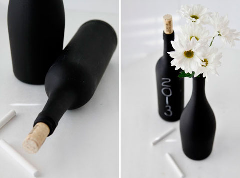 Pintar una botella con pintura de pizarra