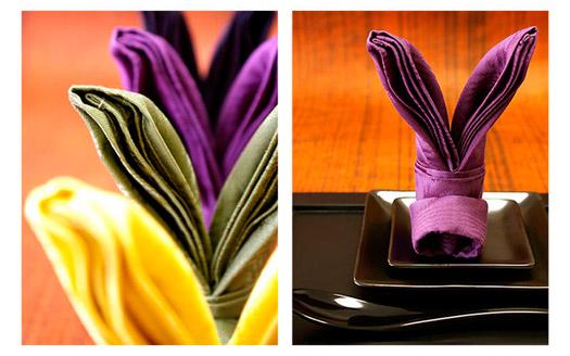 Figuras con servilletas de tela con forma de conejo