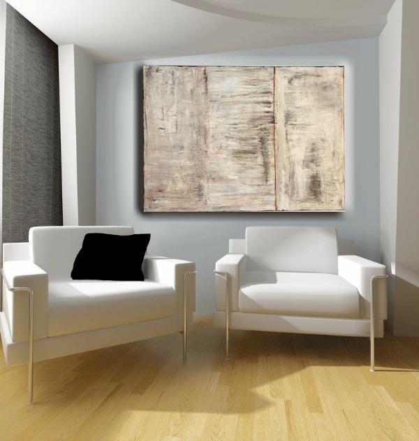 Cuadro de pintura abstracta textura madera