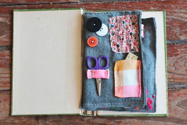 Cómo hacer un costurero de viaje con un libro