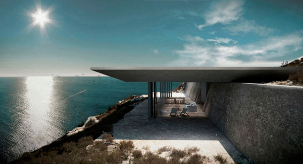 Diseño de la casa integrada en la roca