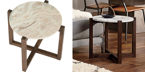Mesa de madera y marmol tendencia otoño