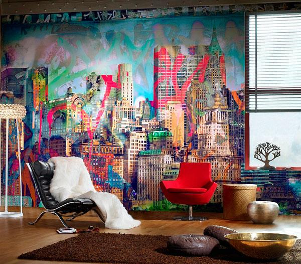 graffitis en las paredes interiores de una casa