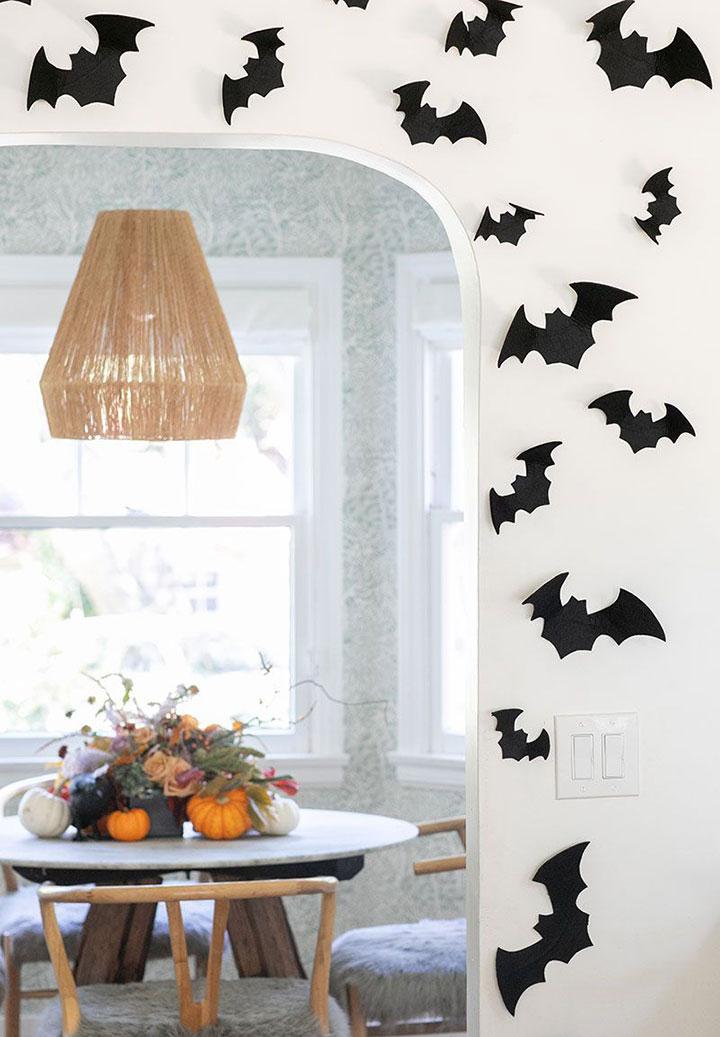 Decoración de Halloween con murciélagos