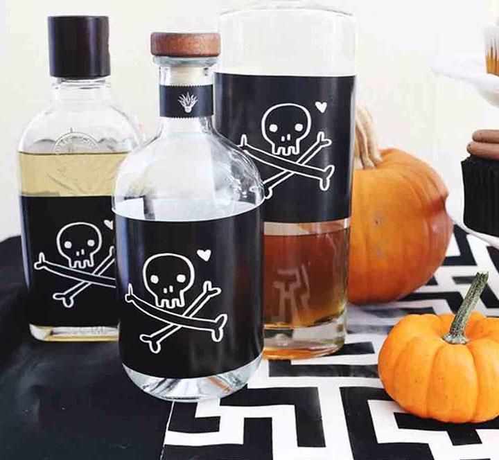 Decoraciones de Halloween con botellas
