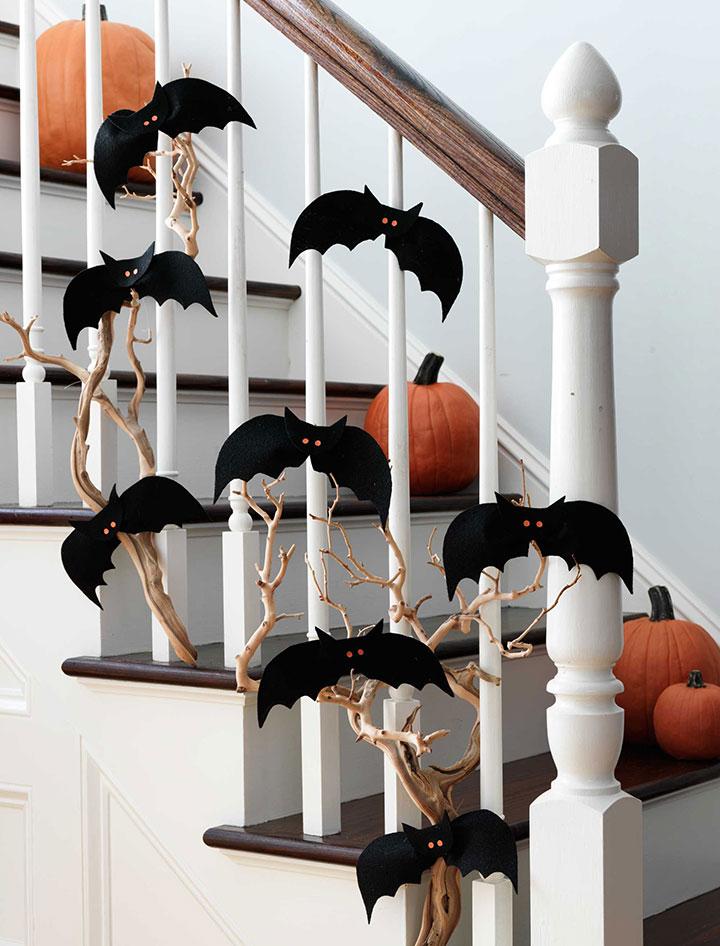Decoraciones en Halloween con murciélagos