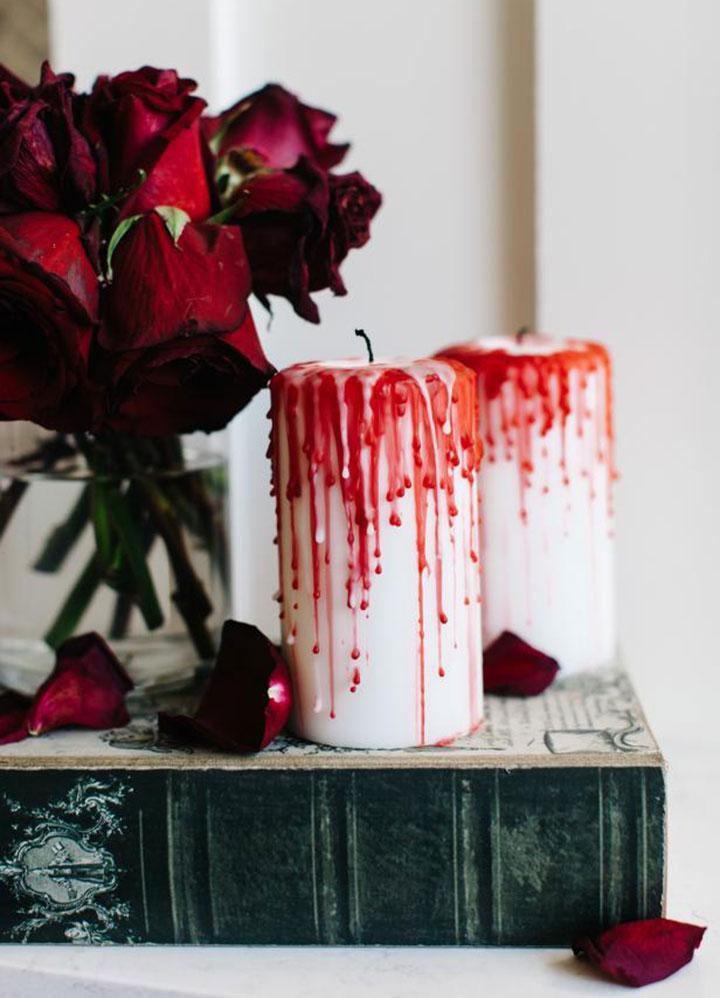 Decoración de Halloween con velas