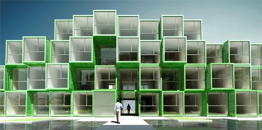 Edificios de diseño con contenedores de envío