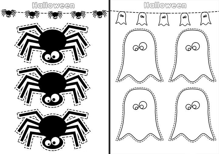 Arañas y fantasmas recortables para Halloween