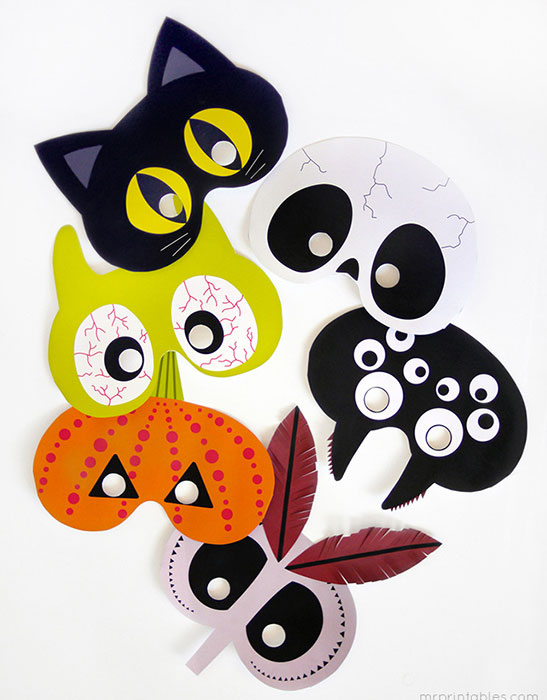 Máscaras imprimibles infantiles para Halloween
