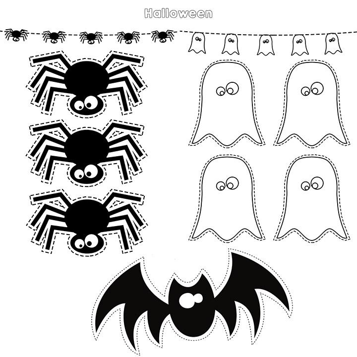 Recortables de Halloween imprimibles infantiles