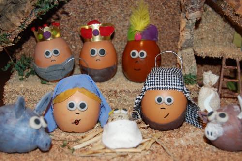 Belen de navidad con huevos