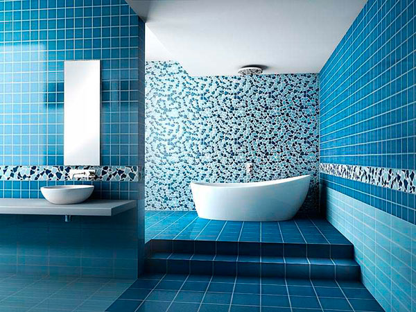 Baño Blanco Con Azul:Blue Tile Bathroom