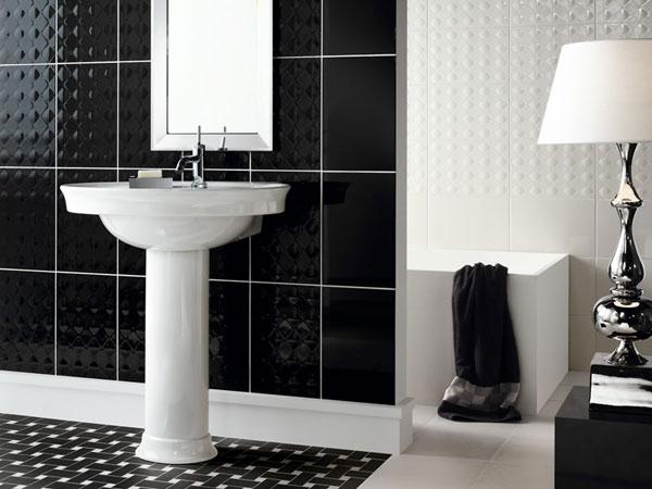 Lavabo en diseño blanco y negro