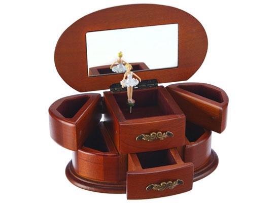Joyero caja de música de madera